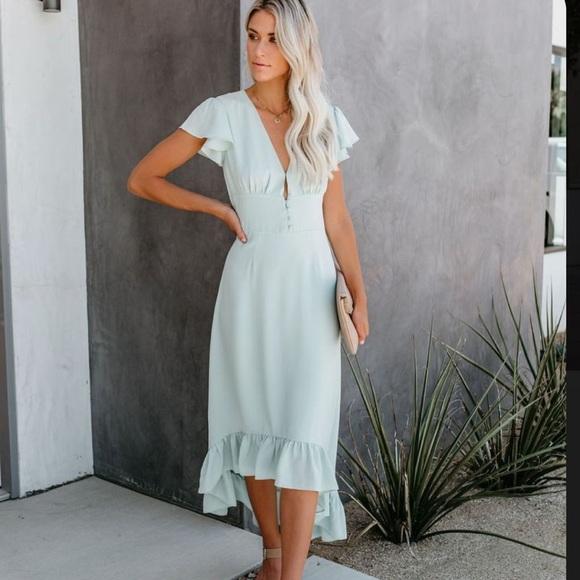 Mint Maxi Ruffle Dress
